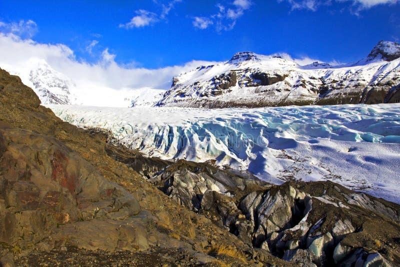 Svinafellsjokullgletsjer, Skaftafell, IJsland. royalty-vrije stock fotografie