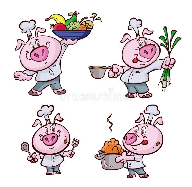 Svinkock vektor illustrationer