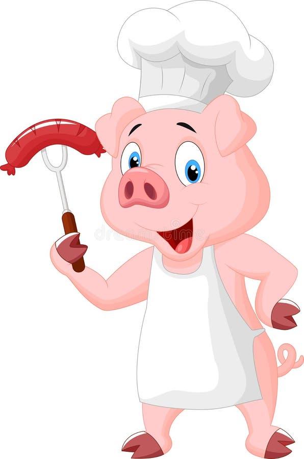 Svinkock Cartoon With Sausage på gaffel stock illustrationer