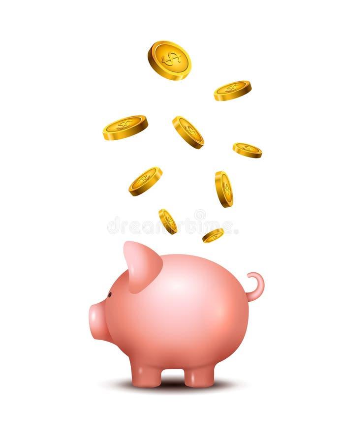Svinsparbössa Piggy symbol för pengarräddningbank Svinleksak för mynt som sparar askbegrepp Rikedominsättning vektor illustrationer