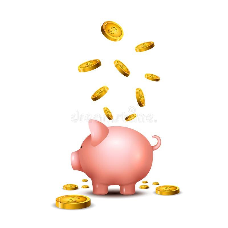 Svinsparbössa Piggy symbol för pengarräddningbank Svinleksak för mynt som sparar askbegrepp Rikedominsättning stock illustrationer