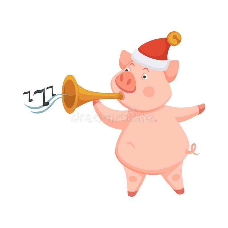Svinsymbol av 2019 annalkande nya år som spelar på trumpeten royaltyfri illustrationer