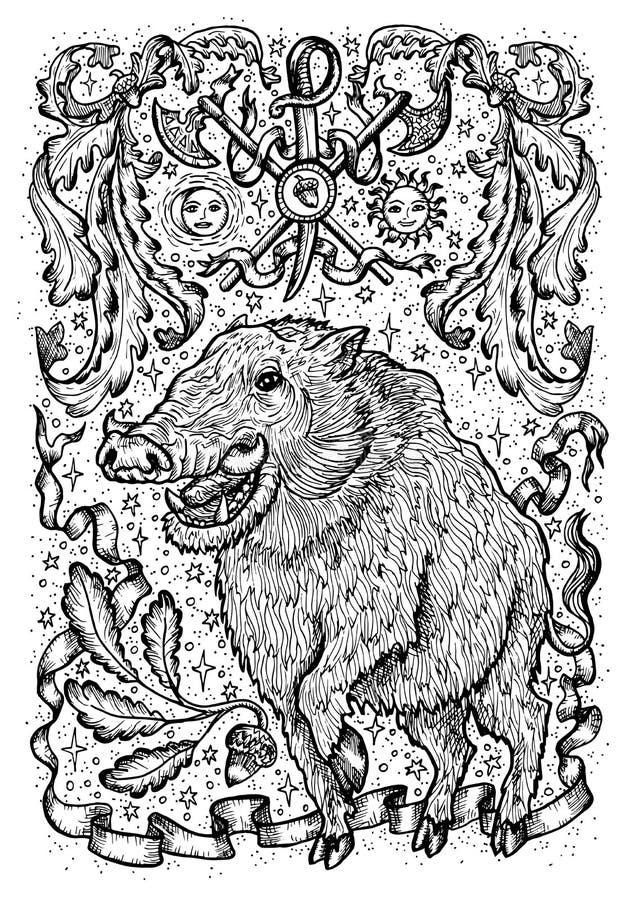 Svinsymbol med det heraldiska vapnet, barocka beståndsdelar och karaktärsteckningband stock illustrationer