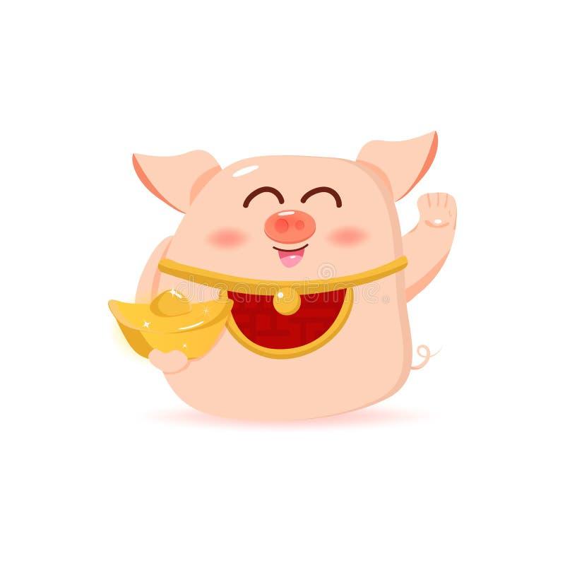 Svintecknad filmtecken, maskotrikedom och rikedom, lyckligt kinesiskt nytt år, 2019, gullig vektor stock illustrationer