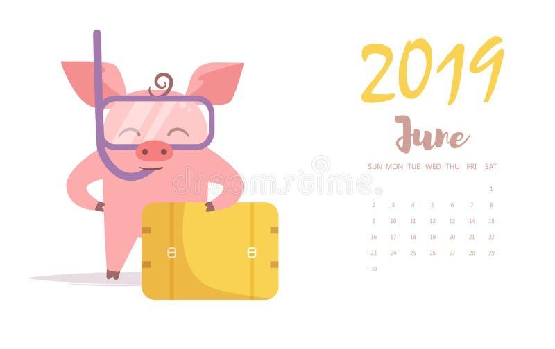 Svinvektor cartoon Isolerad konstlägenhetJuni kalender 2019 vektor illustrationer