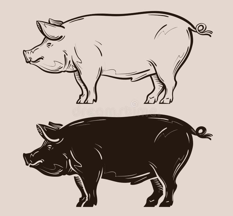 Svinvektorlogo lantgård griskött, piggy symbol royaltyfri illustrationer