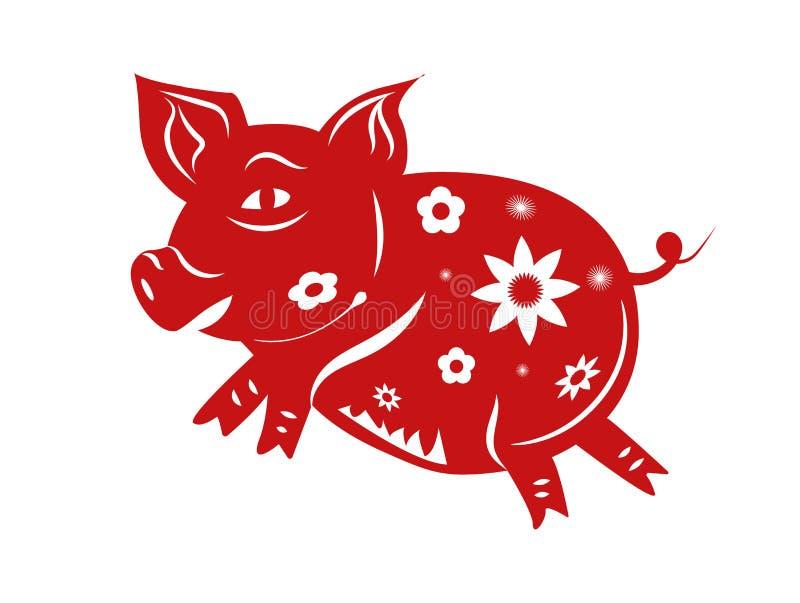 Svinzodiak Lyckligt kinesiskt nytt år 2019 året av svinbegreppet Tema för pappers- konst och för grafisk design Illustrationvekto vektor illustrationer