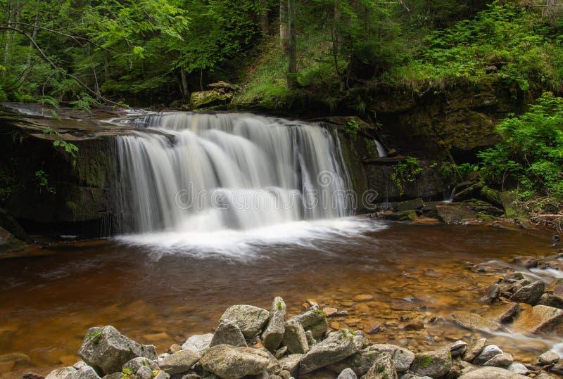 Svitan vattenfall på den Oplotnica strömmen royaltyfria bilder