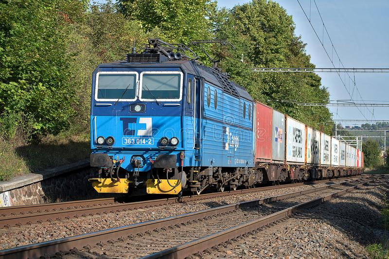 Svitavy, Czech Republic - 20.4.2019: Freight train with container wagons, CD Cargo. Loaded containers on wagons royalty free stock image