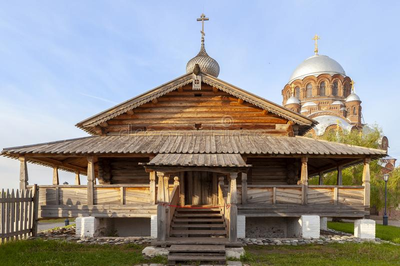 Sviyazhsk,俄罗斯, 2018年6月04日:以上帝的母亲的象的名义大教堂 免版税库存图片