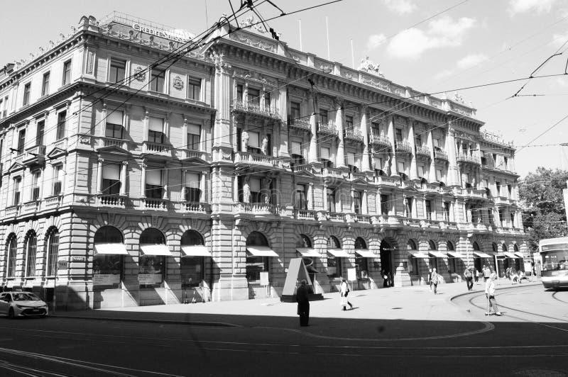 Switzerland: The Credit Suisse Headquarter at Paradeplatz in Zürich City immagini stock libere da diritti