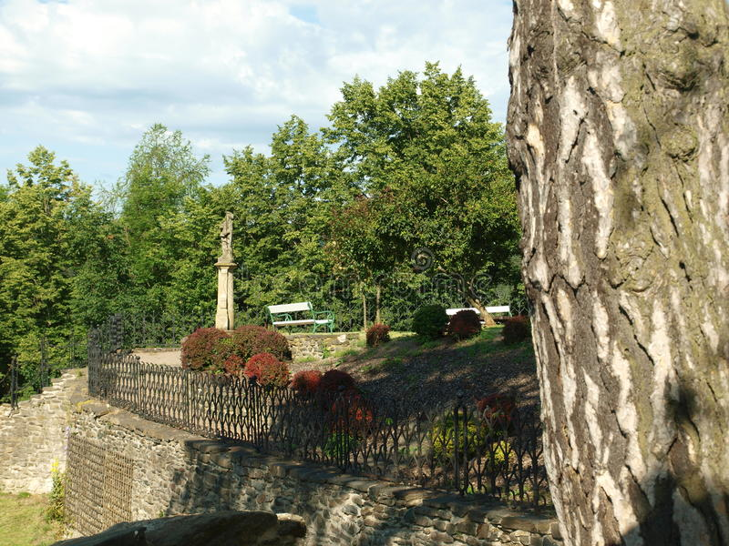 Svojanov castle, ghotic garden stock images