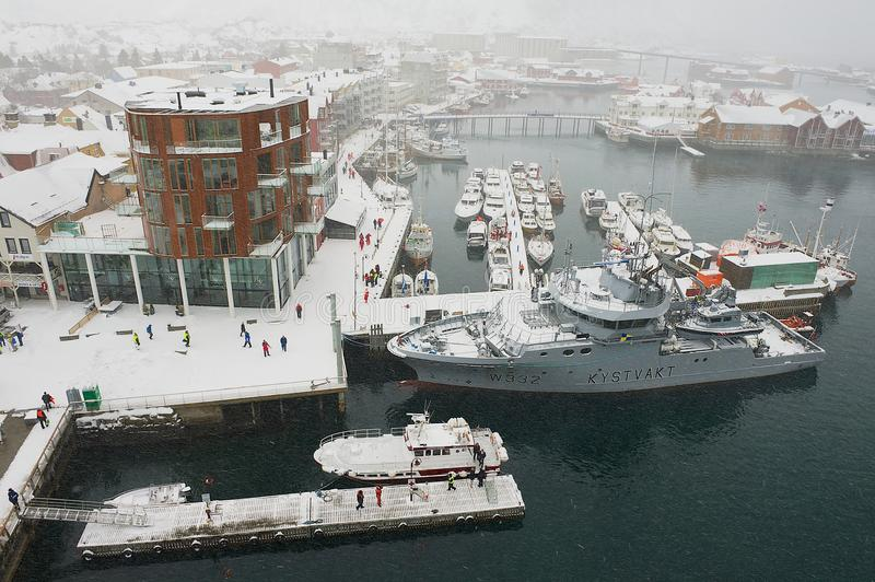 View to the Svolvaer harbor in snowfall in Svolvaer, Norway. royalty free stock photos