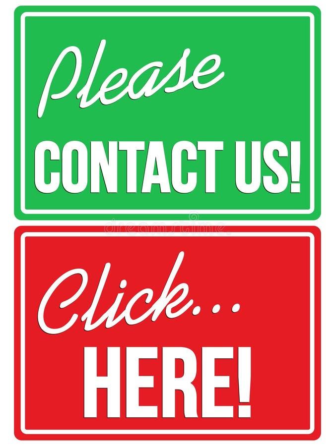 Svp contactez-nous et signes de magasin de cliquez ici illustration libre de droits