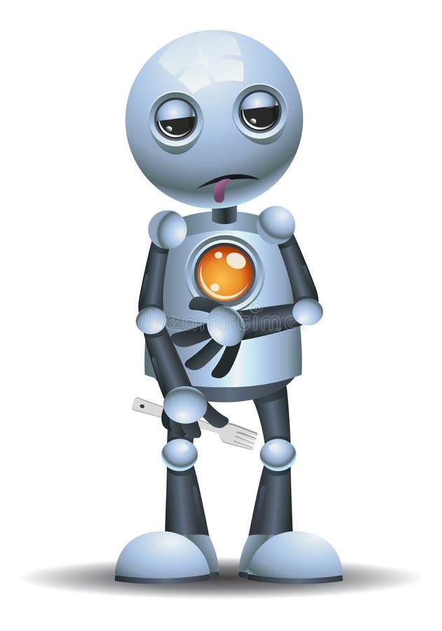 Svulten hållgaffel för liten robot royaltyfri illustrationer