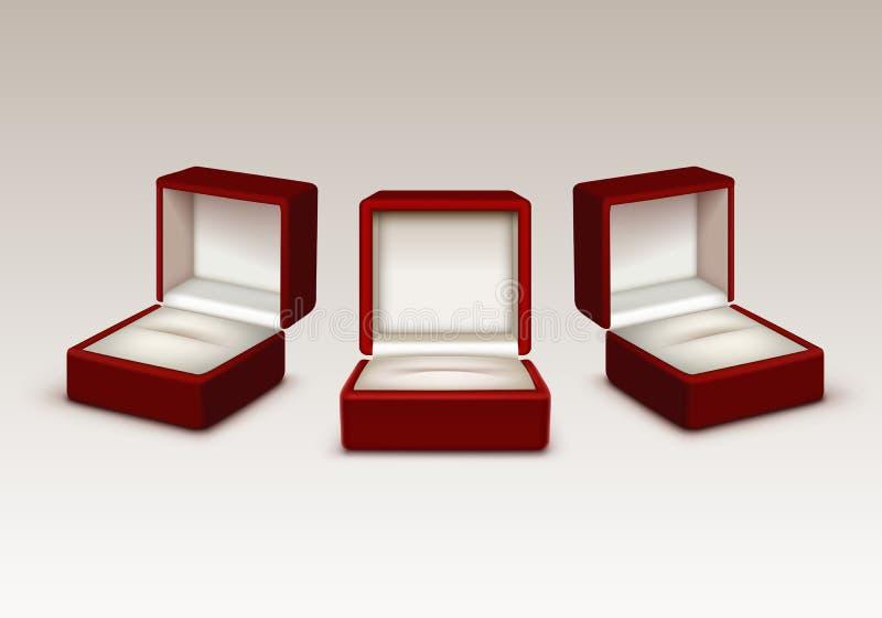 Svuoti e bianco contenitori di gioielli aperti il velluto rosso del regalo isolati illustrazione vettoriale