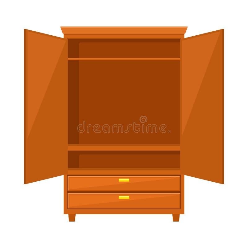 Svuoti il guardaroba aperto isolato su fondo bianco Mobilia di legno naturale Icona del guardaroba nello stile piano Interno dell illustrazione di stock
