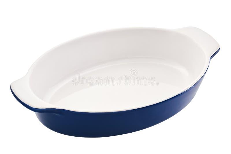 Svuoti il piatto ovale di cottura per gratin, casseruola fotografia stock