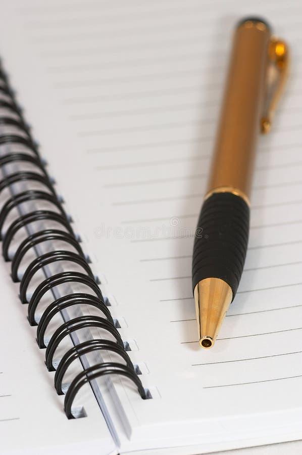 Svuoti l'anello in bianco, il blocchetto per appunti a spirale, una macro della penna dell'oro immagini stock