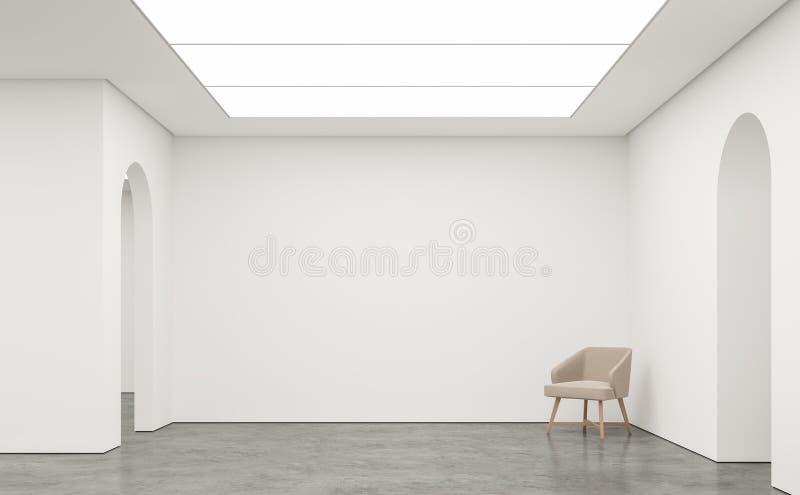 Svuoti l'immagine interna della rappresentazione 3d dello spazio moderno della stanza bianca royalty illustrazione gratis