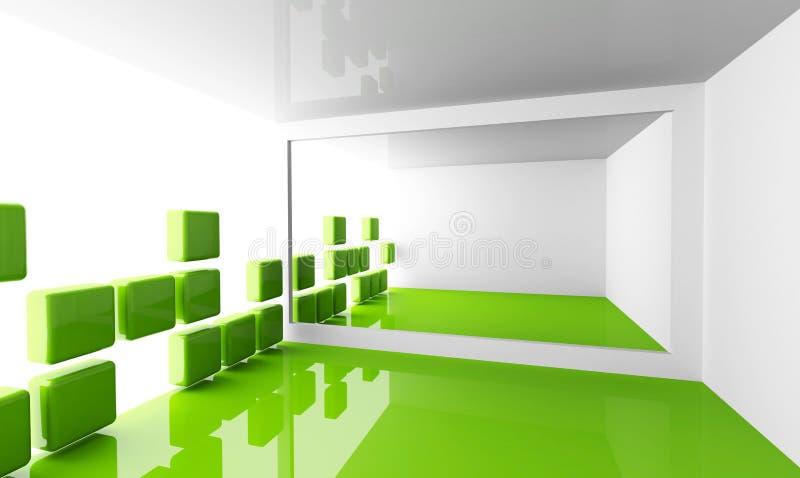 Svuoti l'interiore moderno bianco e verde della stanza illustrazione di stock