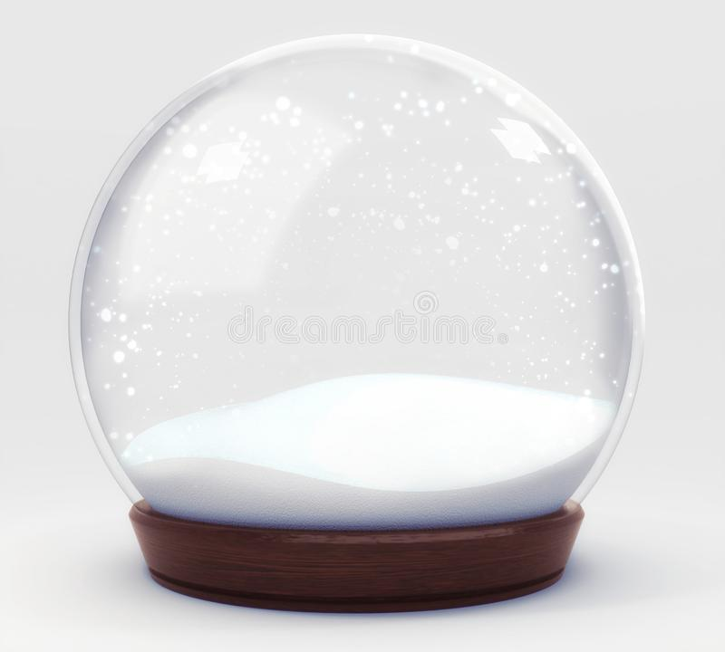 Svuoti la decorazione della palla di neve isolata su fondo bianco royalty illustrazione gratis