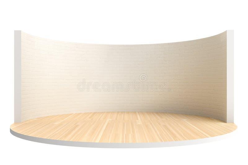 Svuoti la fase o la stanza rotonda con il pavimento di legno ed il muro di mattoni bianco immagini stock libere da diritti