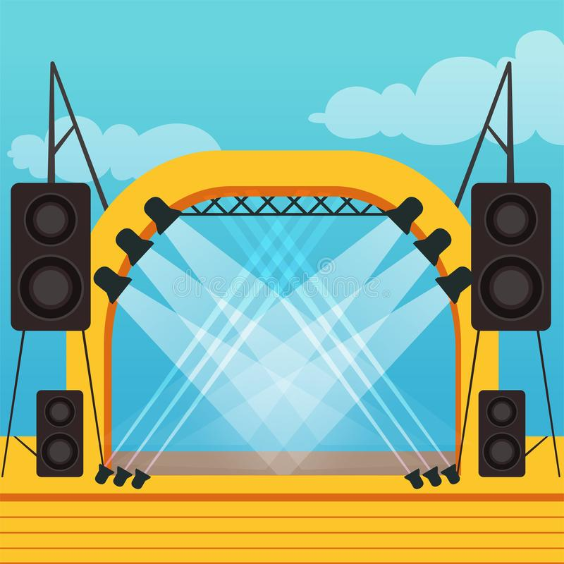 Svuoti la fase per il festival dell'aria aperta o il concerto di musica esterno illustrazione vettoriale