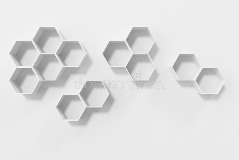 Svuoti la parete bianca con gli scaffali di esagono sulla parete, la rappresentazione 3D fotografie stock