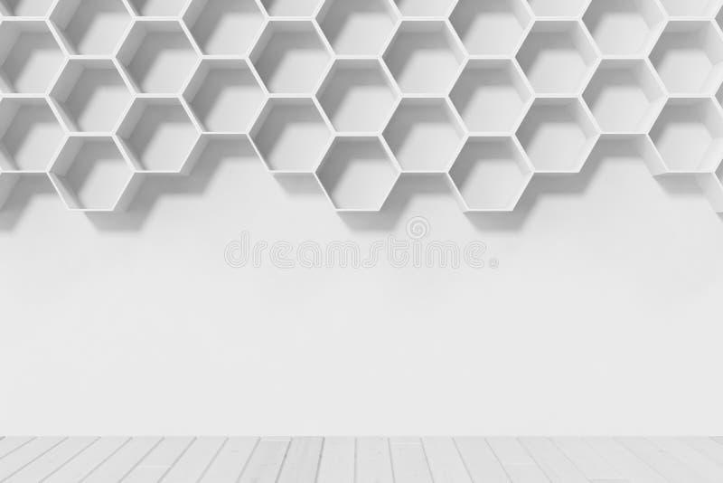 Svuoti la parete bianca con gli scaffali di esagono sulla parete, la rappresentazione 3D fotografia stock