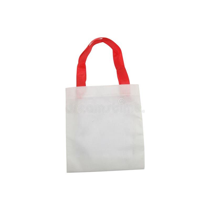 Svuoti la piccola borsa del cotone isolata su fondo bianco fotografia stock