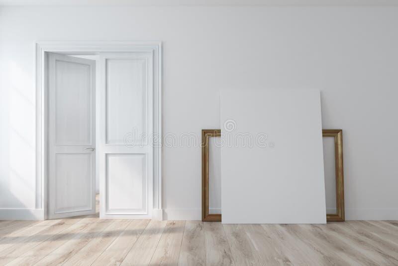 Svuoti la stanza bianca con una porta aperta, manifesto royalty illustrazione gratis