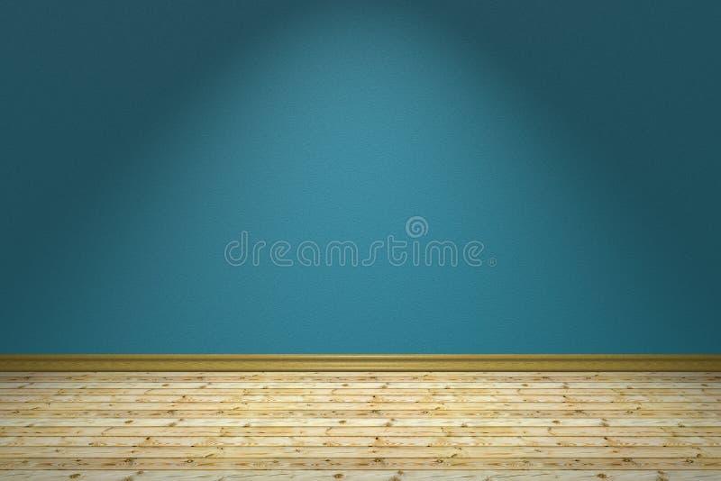 Svuoti la stanza blu ed il pavimento di legno sotto la lampada royalty illustrazione gratis
