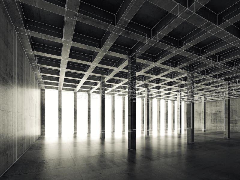 Svuoti la stanza concreta scura, 3d l'illustrazione, cavo-struttura illustrazione di stock
