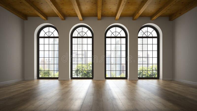 Svuoti la stanza del sottotetto con la rappresentazione delle finestre 3D dell'arco royalty illustrazione gratis