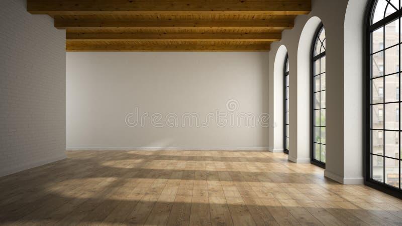 Svuoti la stanza del sottotetto con la rappresentazione delle finestre 3D dell'arco illustrazione di stock