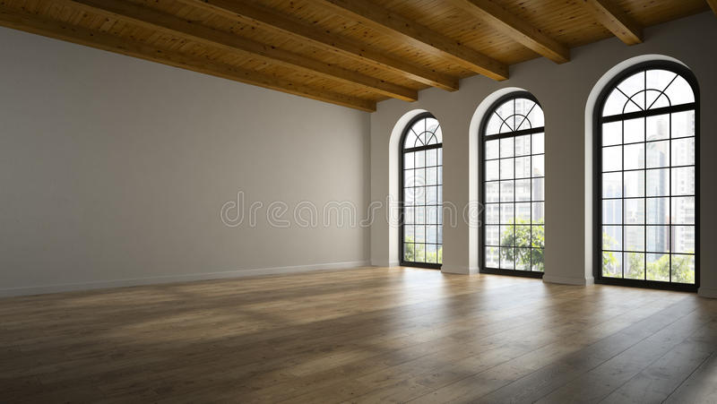 Svuoti la stanza del sottotetto con le finestre 3D dell'arco che rendono 2 illustrazione vettoriale