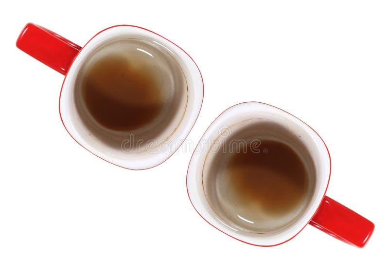 Svuoti la tazza di caffè rossa isolata su fondo bianco immagini stock libere da diritti