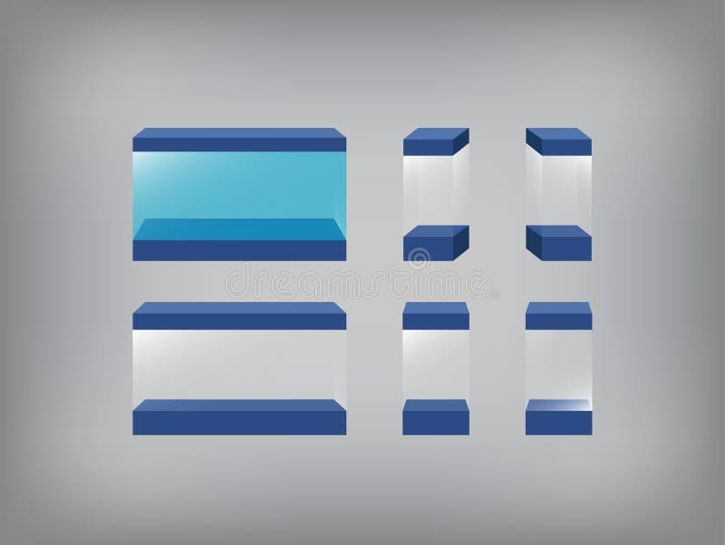Svuoti la vetrina, la scatola di vetro, il caso di vetro, l'acquario, carro armato di pesce illustrazione di stock