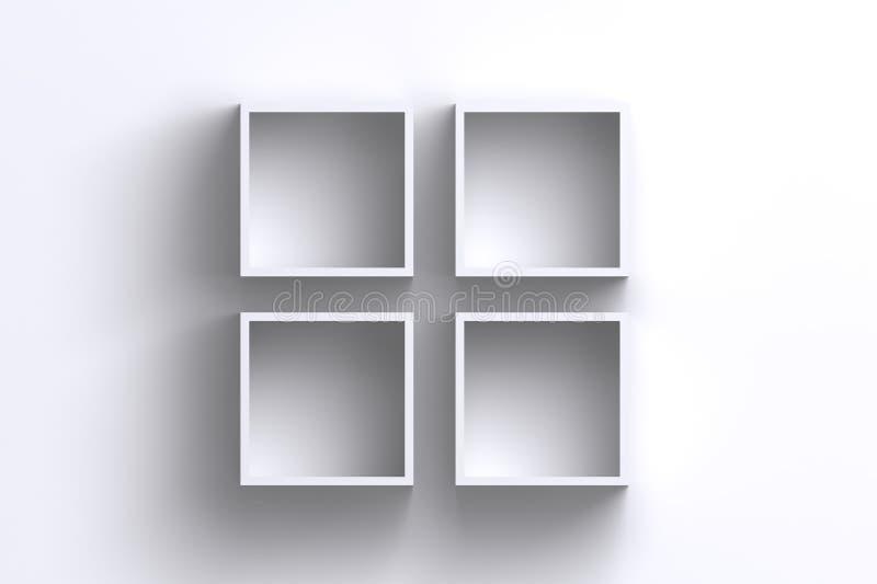 Svuoti le scatole dello scaffale della struttura del quadrato bianco sulla parete in bianco royalty illustrazione gratis