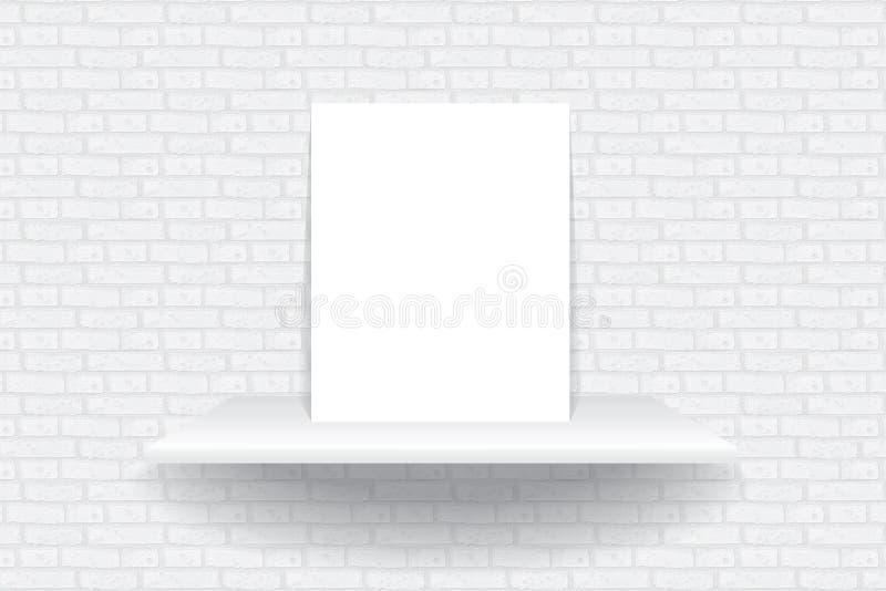 Svuoti lo scaffale bianco che appende su una carta da parati del mattone illustrazione vettoriale