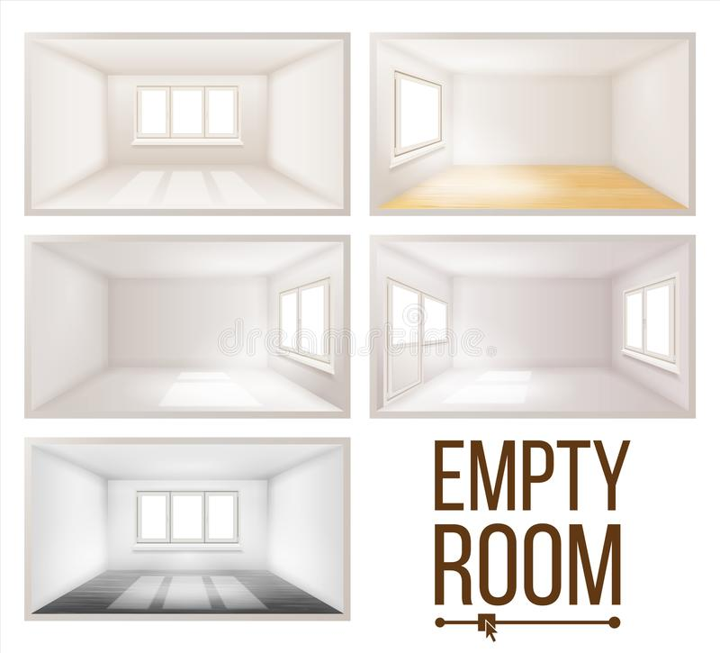 Svuoti, stanza, vettore , Parete , Luce solare, cadente, giù , Camera, interno, fondo , Comodo, costruzione , 3d illustrazione vettoriale