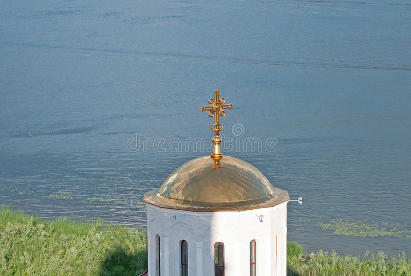 Svyato-Bogorodicky monastery and Volga river, Russia royalty free stock images