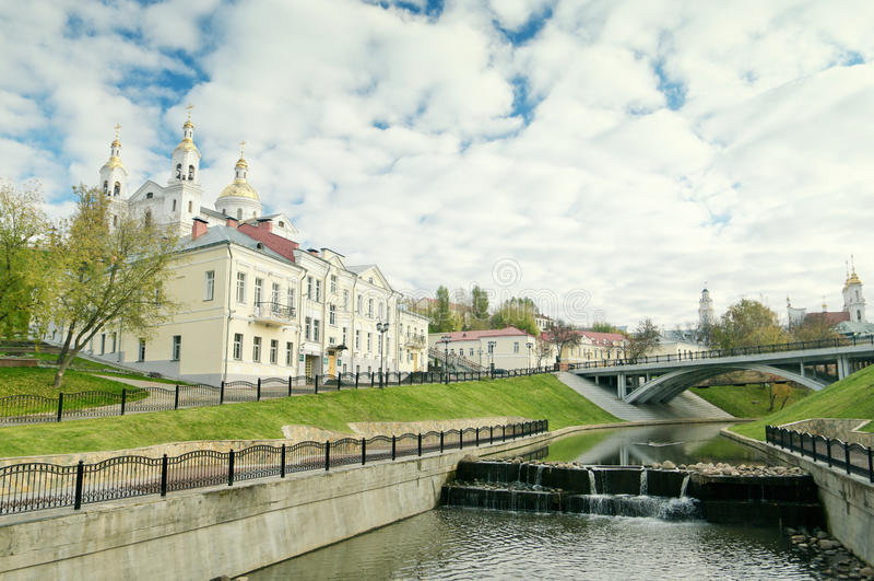 Svyato-Duhov Monastery In Vitebsk Belarus. Svyato-Duhov Monastery And Vitba River In Vitebsk Belarus In Autumn stock photography