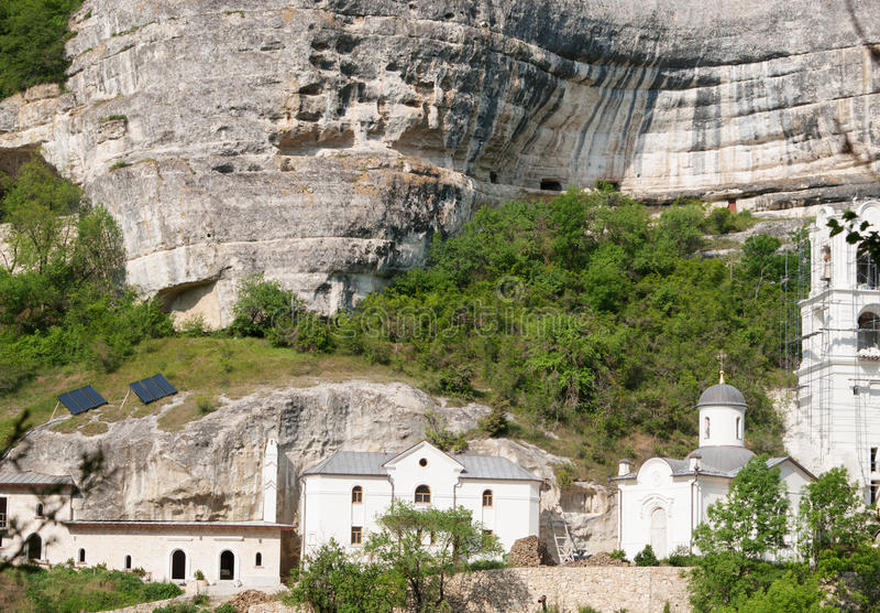 Svyato-Uspensky monastery, Bakhchisarai, Crimea. View of orthodoxy Svyato-Uspensky monastery among mountains, Bakhchisarai, Crimea royalty free stock photo