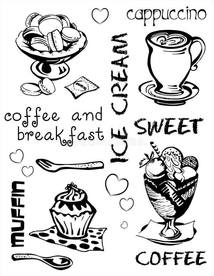 Swеet och kaffe stock illustrationer