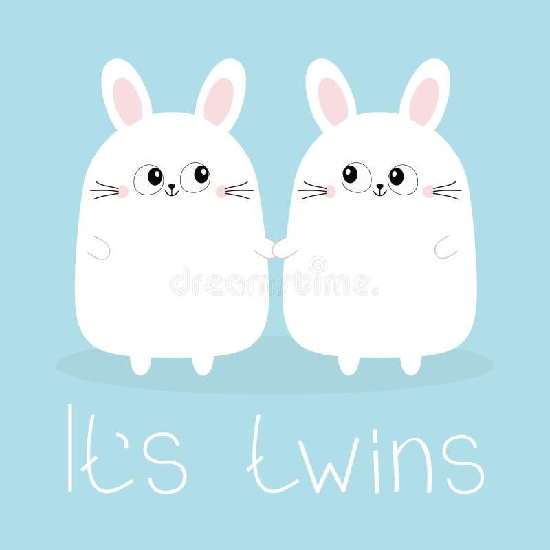 Swój bliźniacy dwie dziewczyny Śliczne bliźniacze królika królika mienia ustalone ręki Zając głowy pary rodziny ikona Ślicznej kr ilustracja wektor
