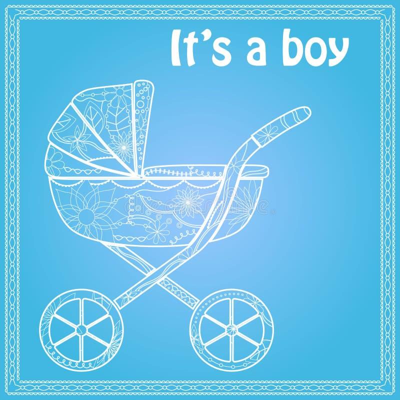 Swój chłopiec karta z dziecko frachtem ilustracji