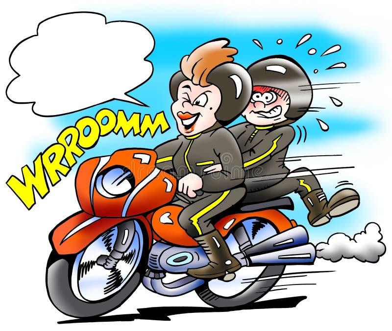 Swój mama tam biega motocykl ilustracji