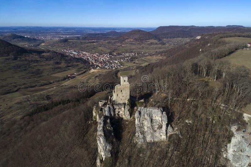 Scenic landscape of the Swabian Alb with Reussenstein Castle, Neidlingen, Germany. Aerial view stock image